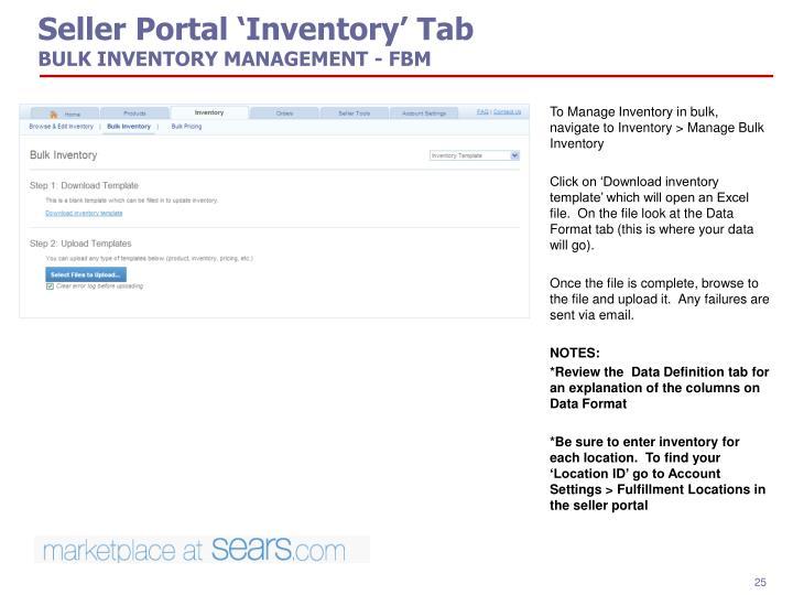 Seller Portal 'Inventory' Tab