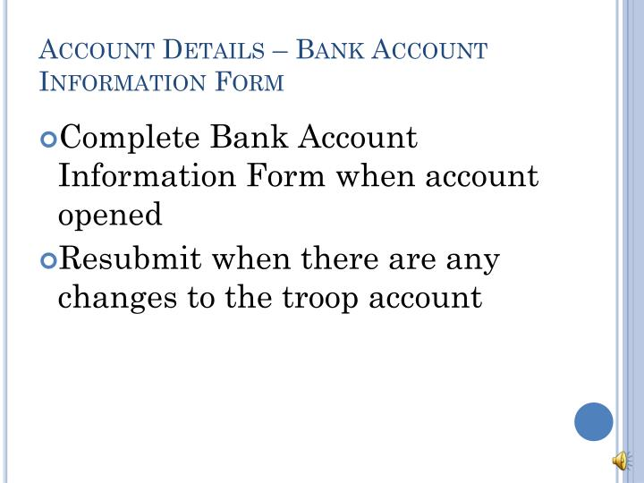 Account Details – Bank Account Information Form