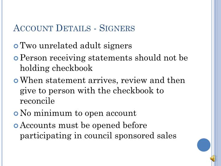 Account Details - Signers