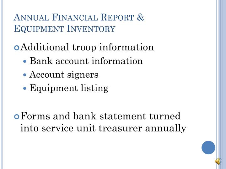 Annual Financial Report & Equipment Inventory