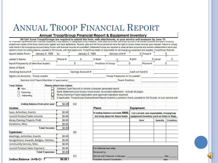 Annual Troop Financial Report