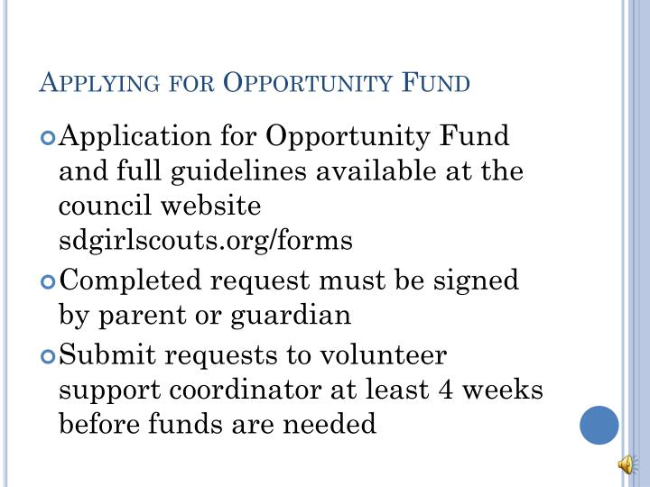 Applying for Opportunity Fund
