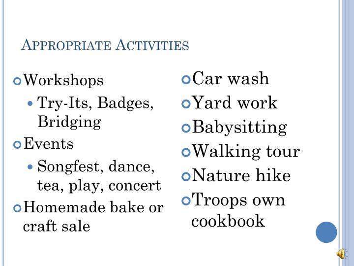 Appropriate Activities