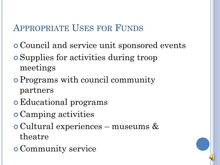 Appropriate Uses for Funds