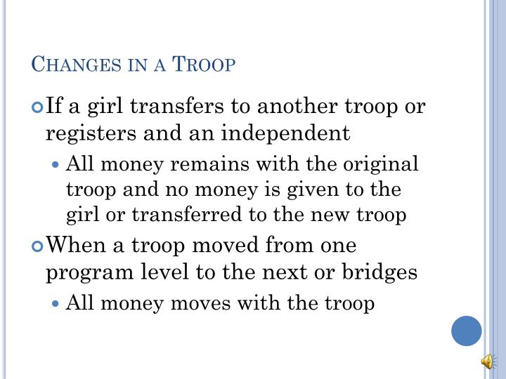 Changes in a Troop