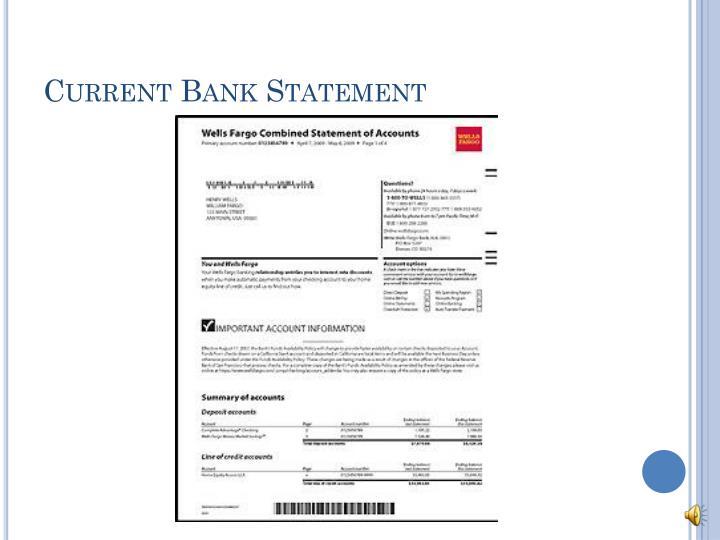 Current Bank Statement