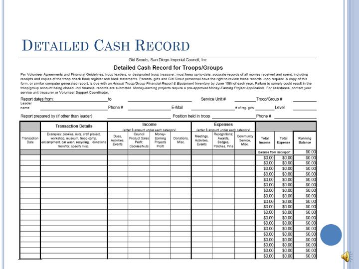 Detailed Cash Record