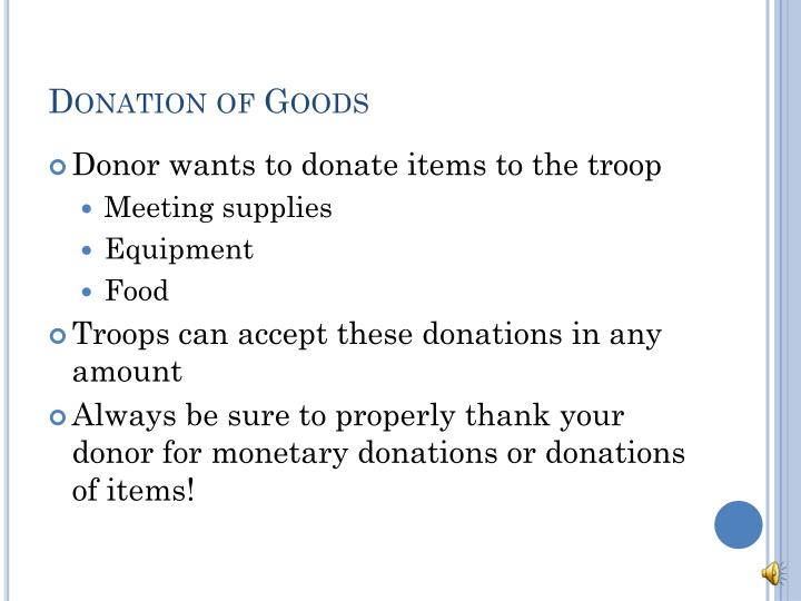 Donation of Goods