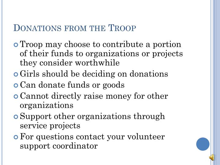 Donations from the Troop
