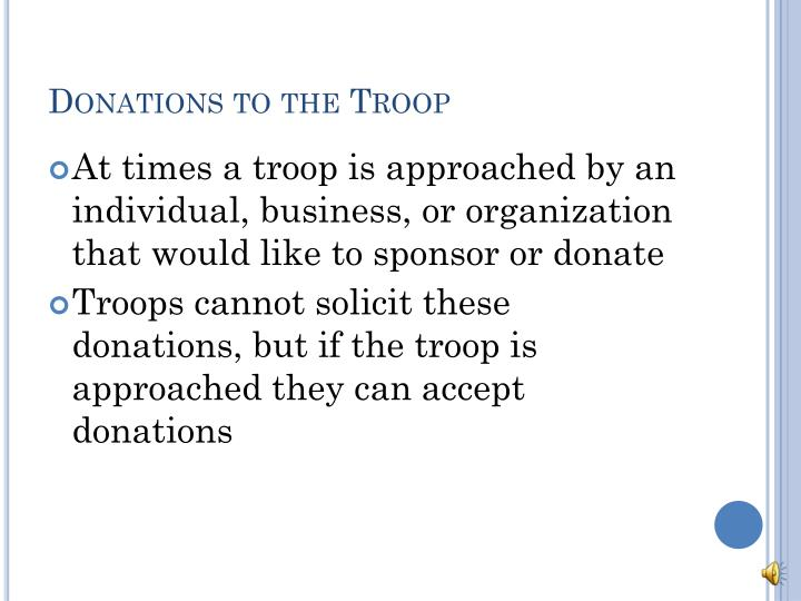 Donations to the Troop