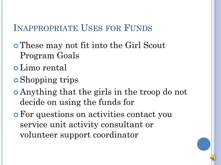 Inappropriate Uses for Funds