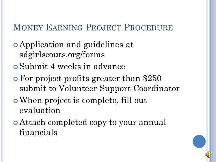 Money Earning Project Procedure