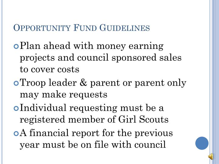 Opportunity Fund Guidelines