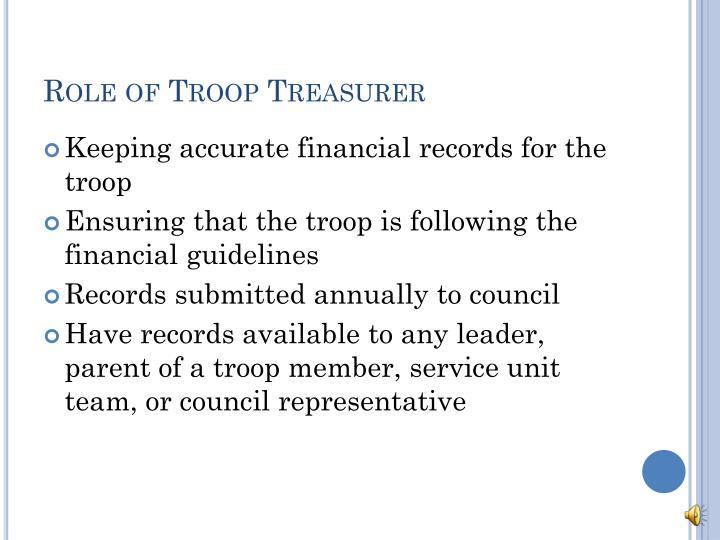 Role of Troop Treasurer
