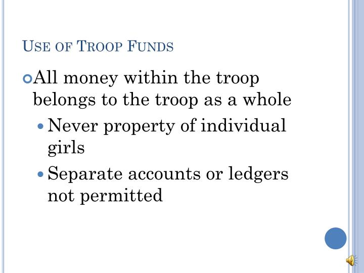 Use of Troop Funds