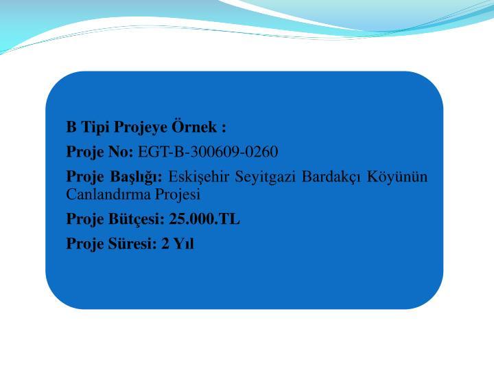 B Tipi Projeye rnek :