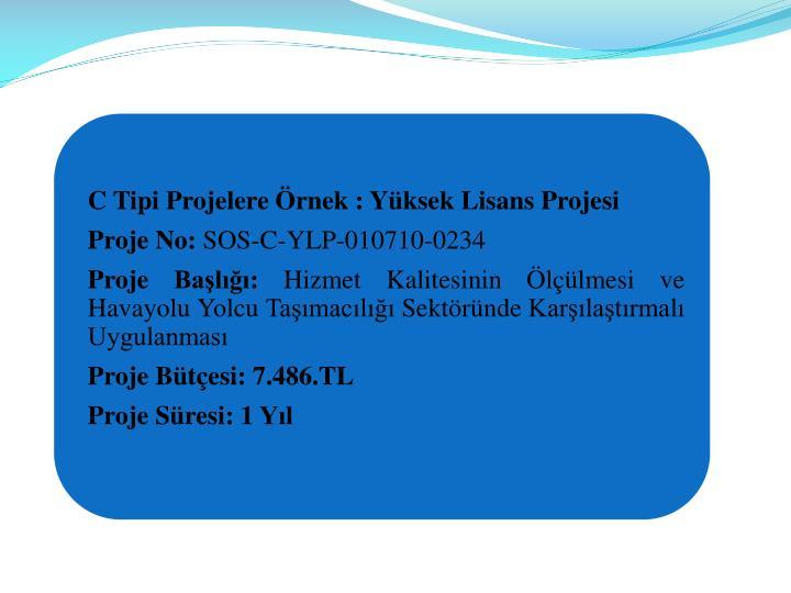 C Tipi Projelere rnek : Yksek Lisans Projesi