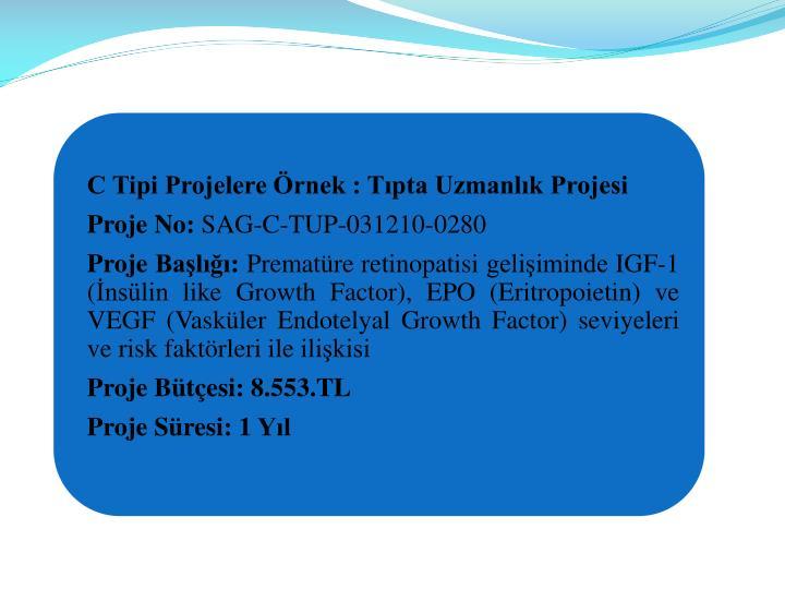C Tipi Projelere rnek : Tpta Uzmanlk Projesi