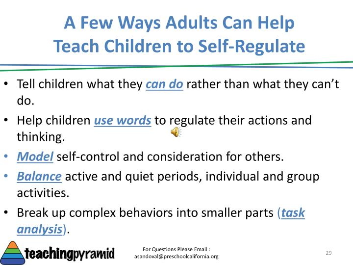 A Few Ways Adults Can Help Teach Children to Self-Regulate