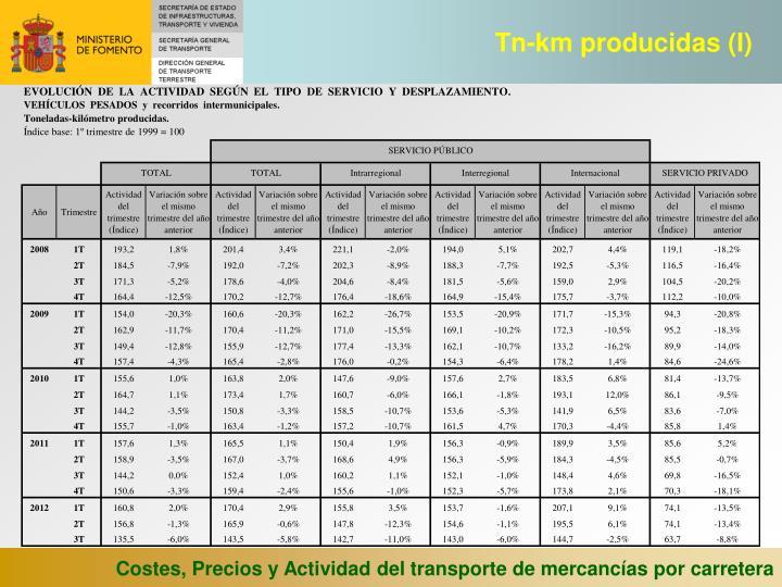 Tn-km producidas (I)