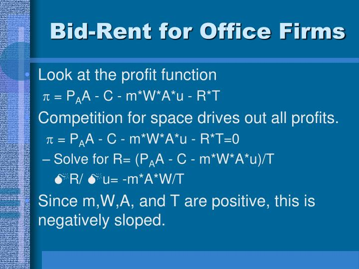 Bid-Rent for Office Firms