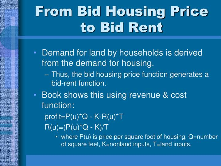 From Bid Housing Price to Bid Rent