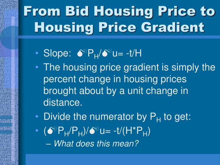 From Bid Housing Price to Housing Price Gradient