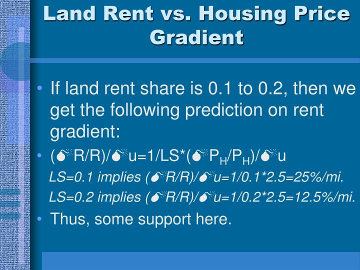Land Rent vs. Housing Price Gradient