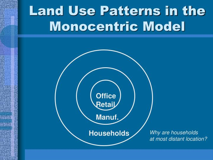 Land Use Patterns in the Monocentric Model