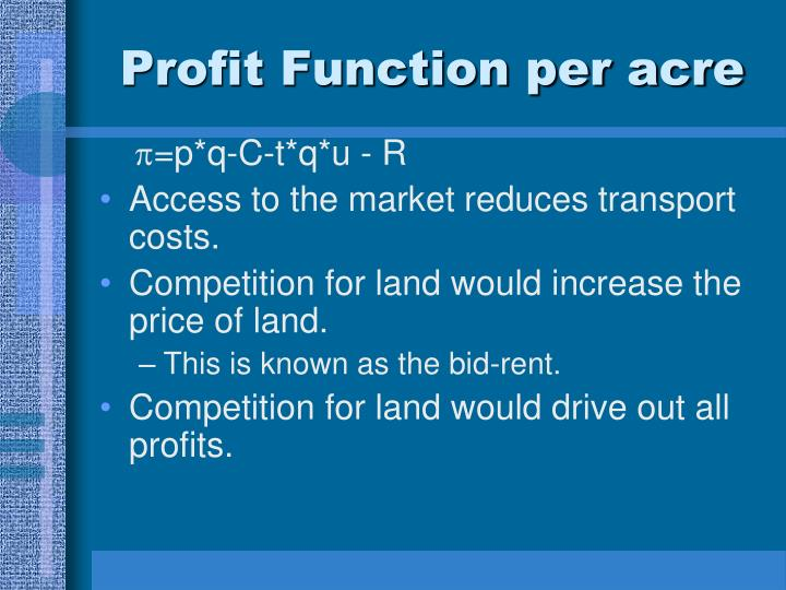 Profit Function per acre