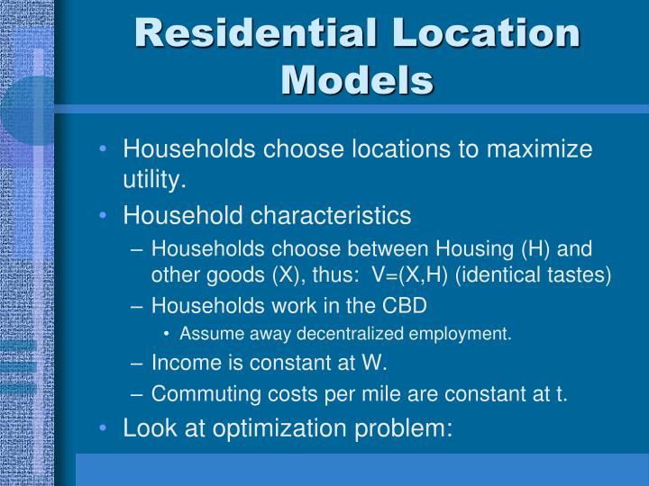 Residential Location Models