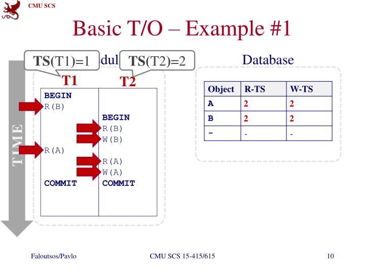 Basic T/O – Example #1