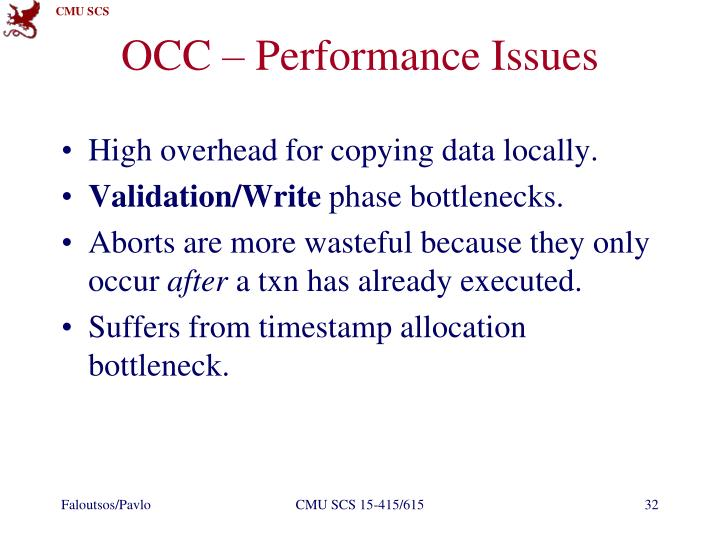 OCC – Performance Issues