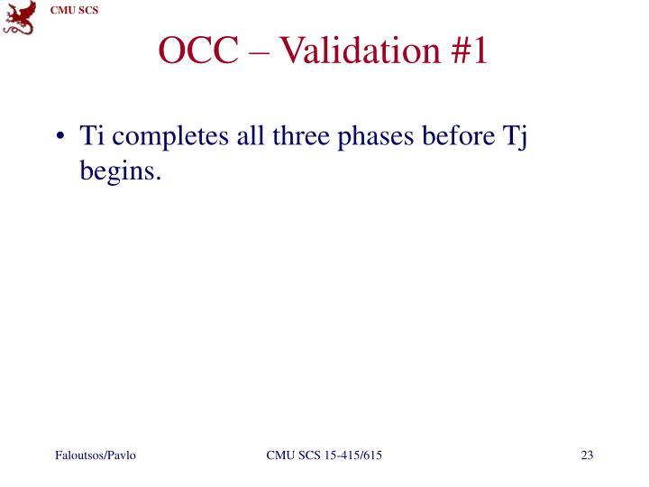 OCC – Validation #1