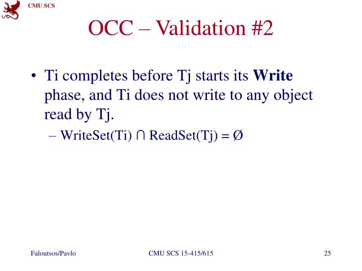OCC – Validation #2