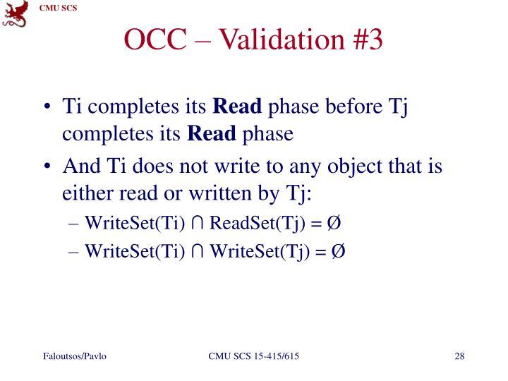 OCC – Validation #3