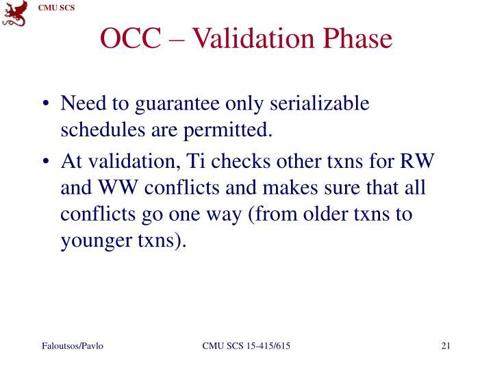 OCC – Validation Phase