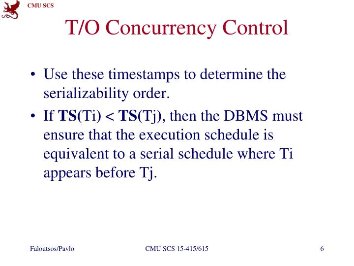 T/O Concurrency Control