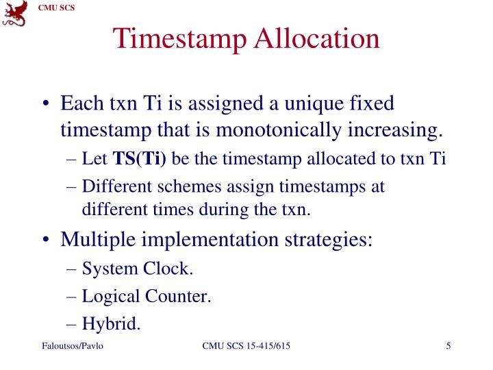 Timestamp Allocation