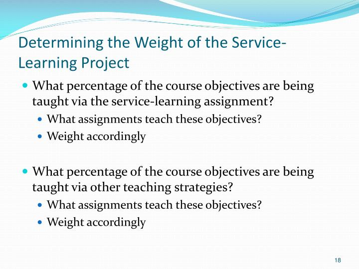 Determining the Weight of the Service-Learning Project