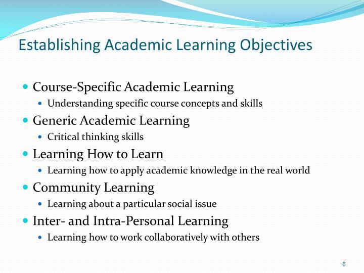 Establishing Academic Learning Objectives