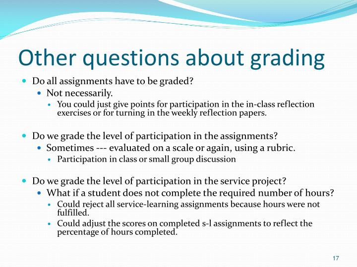 Other questions about grading