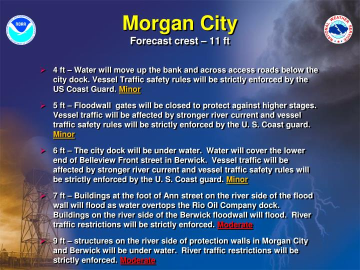 4 ft – Water will move up the bank and across access roads below the city dock. Vessel Traffic safety rules will be strictly enforced by the US Coast Guard.