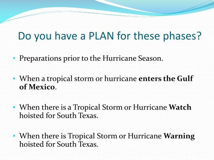 Do you have a PLAN for these phases?