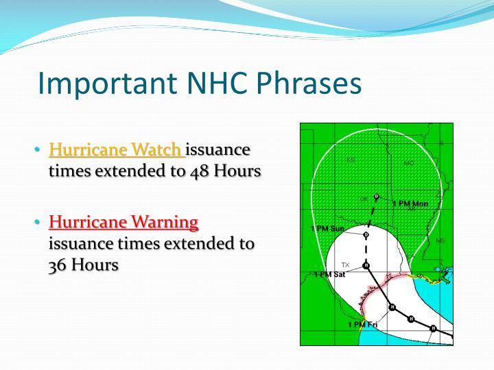 Important NHC Phrases
