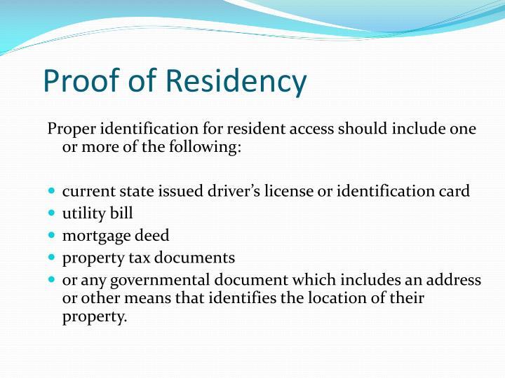 Proof of Residency