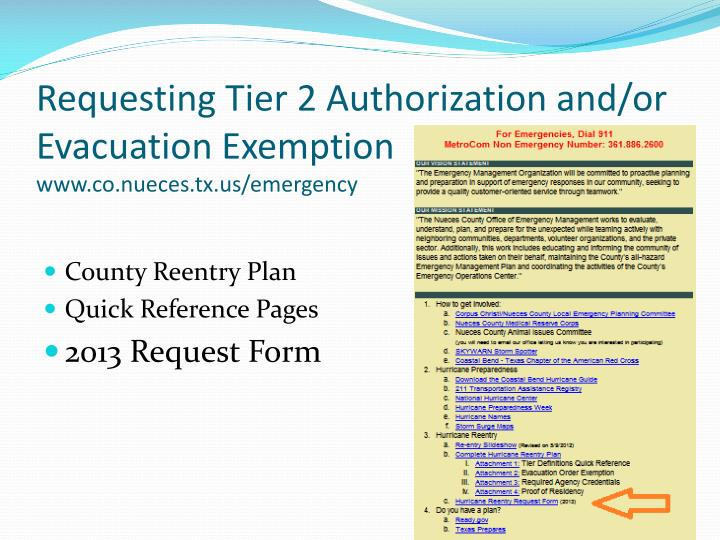 Requesting Tier 2 Authorization and/or Evacuation Exemption