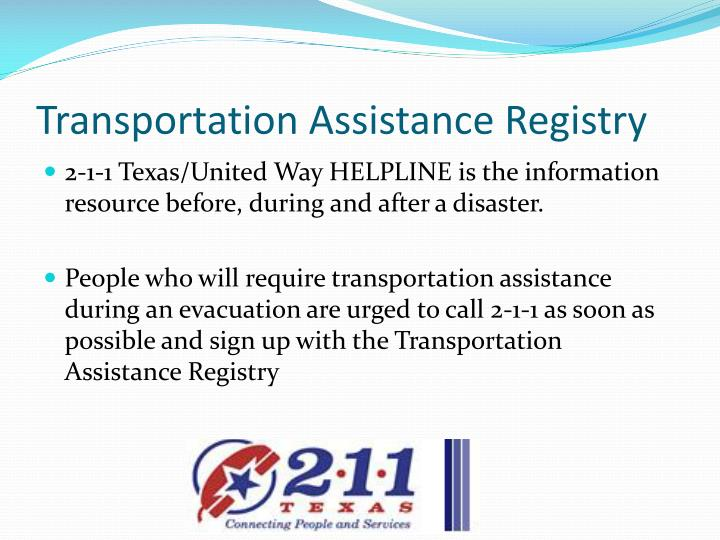 Transportation Assistance Registry