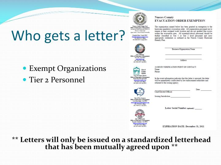 Who gets a letter?