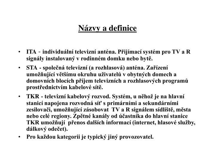 Názvy a definice